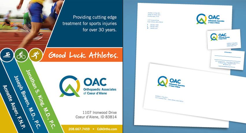 OAC_orthopaedic_associates_of_coeur_d_alene_ad_stationery_business_card_design_tran_creative