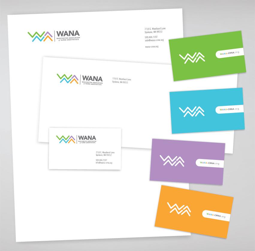 WANA_washington_association_of_nurse_anesthetists_tran_creative_logo_design_stationery_business_card