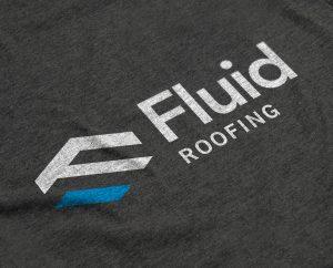 Fluid Roofing Logo Design on a T-shirt