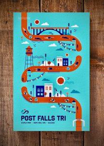 Post Falls Tri Poster Design by tran creative