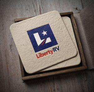 Liberty RV Logo Design printed on a coaster
