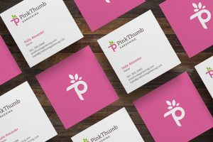 Pink Thumb Gardening Stationery Design by tran creative